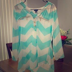 Chevron pattern long blouse
